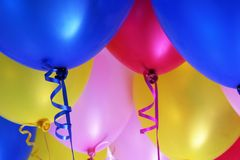 Many Colored Balloons. Blue, Red, Pink and Yellow Colored Balloons Stock Images