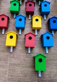 Many colored birdfeeder on wall extremely. Many colored birdfeeder on the wall extremely Royalty Free Stock Image