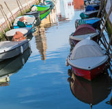 Many Colored Boats in Burano Canal Stock Photos