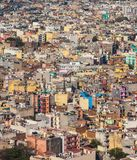 Many colored buildings, aerial view. Top view on chaos of colored buildings - the heap of houses in the Asian cities caused by big overpopulation Royalty Free Stock Photos