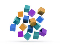 Many colored cubes concept rendered Royalty Free Stock Photo
