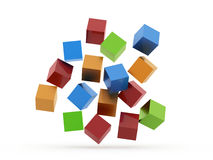 Many colored cubes rendered Royalty Free Stock Photos