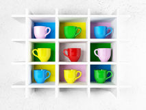 Many colored cups on the shelf, Stock Photography