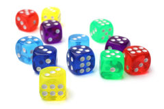 Many-colored dice set Stock Photos