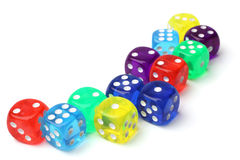 Many-colored dice set Stock Image