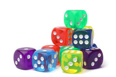 Many-colored dice set Royalty Free Stock Images