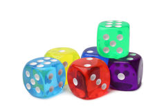 Many-colored dice set Stock Images