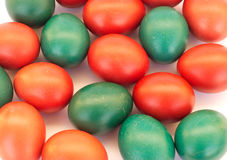 Many colored Easter eggs. Closeup Stock Photo