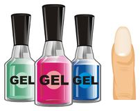 Three gel nail lacquer. Many colored gel nail lacquer with finger Royalty Free Stock Images