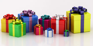 Many-colored gift boxes with varicolored ribbon Royalty Free Stock Photography