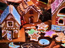 Many colored gingerbread houses for Christmas. Stock Photography