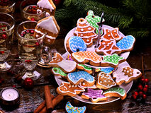 Many colored glazed cookies on Tiered, Cookie, Stand. Royalty Free Stock Photos
