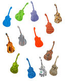 Many colored guitars isolated Stock Photo