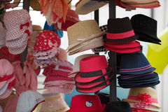 Many colored hats Stock Photography
