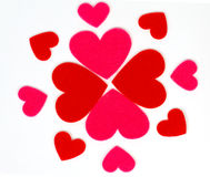 Many colored heart shapes as a flower Stock Photo