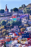 Many Colored Houses El Pipila Statue Guanajuato Mexico. El Pipila is a Mexican Hero from 1810 Mexican War of Independence Stock Image