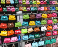 Many colored leather bag Royalty Free Stock Images