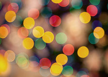 Many colored lights blurred in focus Stock Images