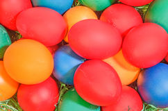 Many colored painted easter eggs, close up background Stock Photography