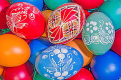Many colored painted easter eggs, romanian tradional, close up Stock Images