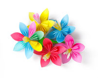 Many colored paper flowers Stock Photography