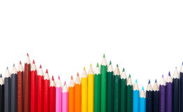 Many colored pencil triangle shape Stock Image