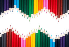 Many colored pencil triangle shape Stock Photos