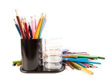 Many colored pencils Royalty Free Stock Images