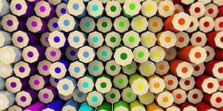 Many colored pencils on the back of the rotated different height Stock Photos