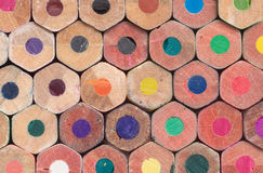Many colored pencils butt ends closeup Royalty Free Stock Photography