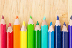 Many colored pencils Royalty Free Stock Image