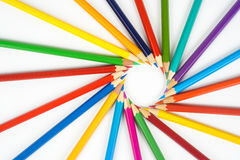 Many colored pencils. Many colored crayons on a white background Stock Photo