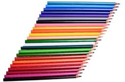 Many colored pencils isolated on white background, place for text Stock Photo