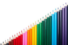 Many colored pencils lopsided putting Royalty Free Stock Photography