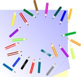 Many colored pencils and paper note Stock Photo
