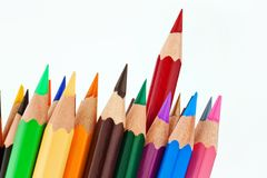 Many colored pencils on white background Royalty Free Stock Images