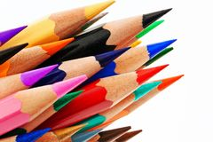 Many colored pencils on white background Royalty Free Stock Image