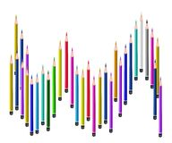 Many Colored Pencils on A White Background Stock Image
