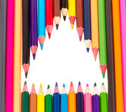 Many colored pencils. On a white background isolated Stock Images