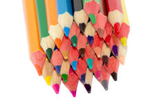 Many colored pencils. On a white background isolated Royalty Free Stock Photo