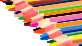 Many colored pencils. On a white background isolated Stock Photography