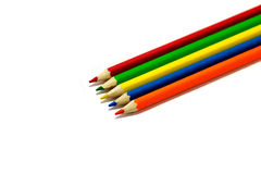 Many colored pencils. On a white background isolated Royalty Free Stock Photography
