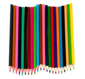 Many colored pencils. On a white background isolated Royalty Free Stock Image