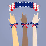 Many colored people's hands with USA's flag color ribbons. On blue background Royalty Free Stock Images