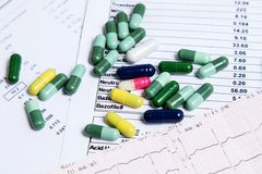 Many colored pills for effective treatment Royalty Free Stock Photography