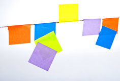 Many colored postit stickers on a rope Stock Photos