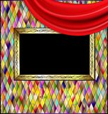 Colored romb background with red drape. Many colored romb background and abstract stylized empty frame wity red drape stock illustration
