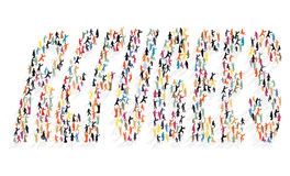 Many colored silhouettes of people in the form of lettering Refugees. Vector EPS 10 Stock Images