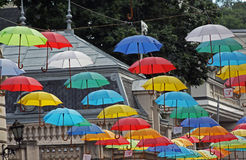 Many colored umbrellas Royalty Free Stock Photos