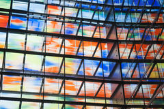 Many colored windows inside a modern building Royalty Free Stock Photos